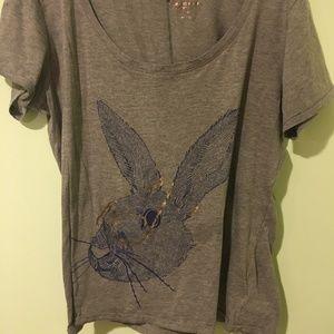 Blue rabbit print brown tshirt size XL